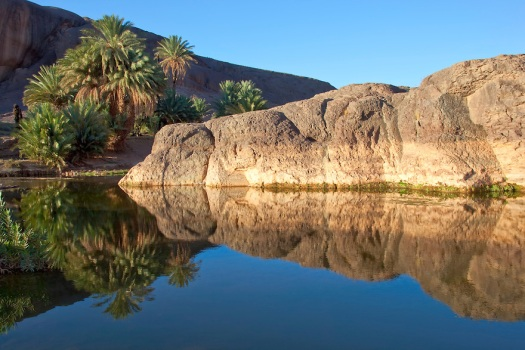 Rocks and water reflections at Fint Oasis, Ouarzazate.