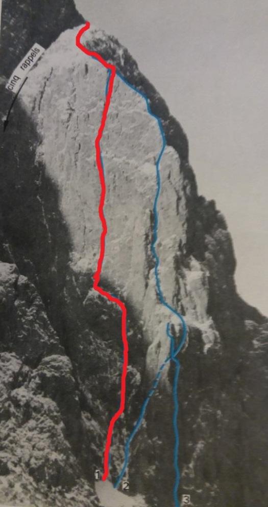 Petite Aiguille - face est - voie 1976