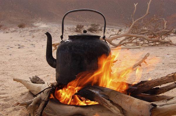 Kettle on a desert Tuareg campfire.